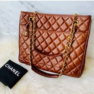 4509d1aea5 CHANEL Brown Quilted Lambskin Shoulder Bag Auth